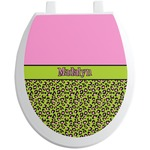 Pink & Lime Green Leopard Toilet Seat Decal (Personalized)