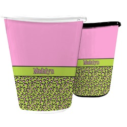 Pink & Lime Green Leopard Waste Basket (Personalized)