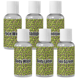 Pink & Lime Green Leopard Travel Bottles (Personalized)
