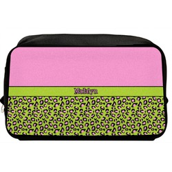 Pink & Lime Green Leopard Toiletry Bag / Dopp Kit (Personalized)
