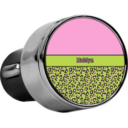 Pink & Lime Green Leopard USB Car Charger (Personalized)