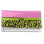 Pink & Lime Green Leopard Vinyl Checkbook Cover (Personalized)