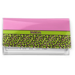 Pink & Lime Green Leopard Vinyl Check Book Cover (Personalized)