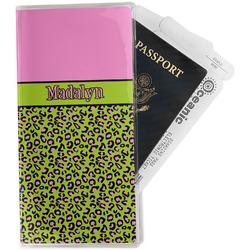 Pink & Lime Green Leopard Travel Document Holder