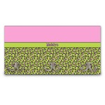 Pink & Lime Green Leopard Wall Mounted Coat Rack (Personalized)