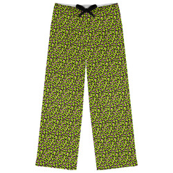 Pink & Lime Green Leopard Womens Pajama Pants (Personalized)