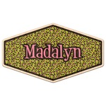Pink & Lime Green Leopard Genuine Maple or Cherry Wood Sticker (Personalized)