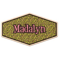 Pink & Lime Green Leopard Genuine Wood Sticker (Personalized)