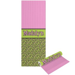 Pink & Lime Green Leopard Yoga Mat - Printable Front and Back (Personalized)