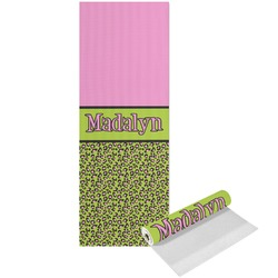 Pink & Lime Green Leopard Yoga Mat - Printed Front (Personalized)