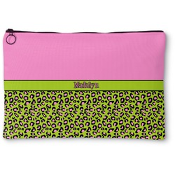 Pink & Lime Green Leopard Zipper Pouch (Personalized)