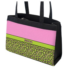 Pink & Lime Green Leopard Zippered Everyday Tote (Personalized)