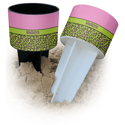 Pink & Lime Green Leopard Beach Spiker Drink Holder (Personalized)