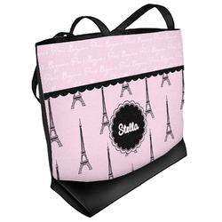 Paris & Eiffel Tower Beach Tote Bag (Personalized)