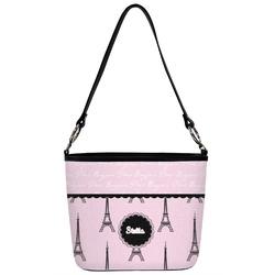 Paris & Eiffel Tower Bucket Bag w/ Genuine Leather Trim (Personalized)