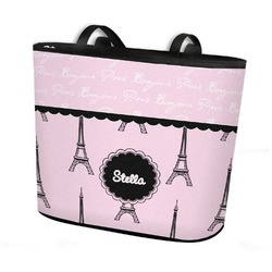Paris & Eiffel Tower Bucket Tote w/ Genuine Leather Trim (Personalized)
