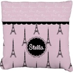 Paris & Eiffel Tower Faux-Linen Throw Pillow (Personalized)
