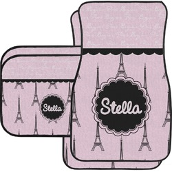 Paris & Eiffel Tower Car Floor Mats Set - 2 Front & 2 Back (Personalized)