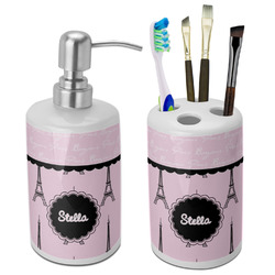 Paris & Eiffel Tower Bathroom Accessories Set (Ceramic) (Personalized)