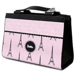 Paris & Eiffel Tower Classic Tote Purse w/ Leather Trim (Personalized)