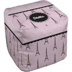 "Paris & Eiffel Tower Cube Pouf Ottoman - 18"" (Personalized)"
