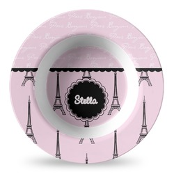 Paris & Eiffel Tower Plastic Bowl - Microwave Safe - Composite Polymer (Personalized)