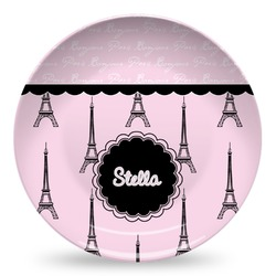 Paris & Eiffel Tower Microwave Safe Plastic Plate - Composite Polymer (Personalized)
