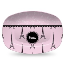 Paris & Eiffel Tower Plastic Platter - Microwave & Oven Safe Composite Polymer (Personalized)