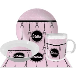Paris & Eiffel Tower Dinner Set - 4 Pc (Personalized)