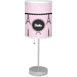 """Paris & Eiffel Tower 7"""" Drum Lamp with Shade Linen (Personalized)"""