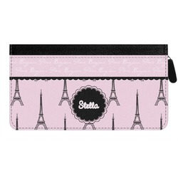 Paris & Eiffel Tower Genuine Leather Ladies Zippered Wallet (Personalized)
