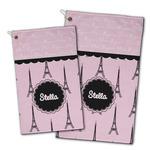 Paris & Eiffel Tower Golf Towel - Full Print w/ Name or Text