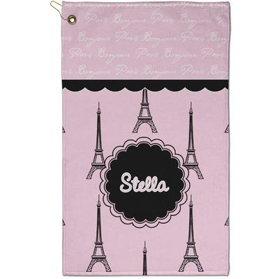 Paris & Eiffel Tower Golf Towel - Full Print - Small w/ Name or Text