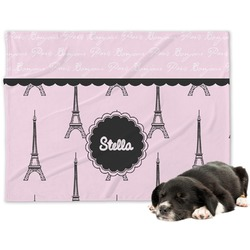 Paris & Eiffel Tower Minky Dog Blanket (Personalized)