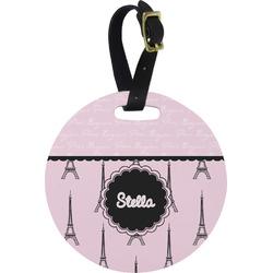Paris & Eiffel Tower Round Luggage Tag (Personalized)