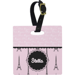 Paris & Eiffel Tower Square Luggage Tag (Personalized)