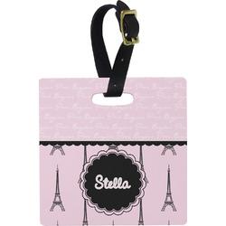 Paris & Eiffel Tower Square Luggage Tag (Personalized)
