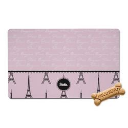 Paris & Eiffel Tower Pet Bowl Mat (Personalized)