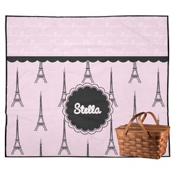 Paris & Eiffel Tower Outdoor Picnic Blanket (Personalized)
