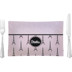 Paris & Eiffel Tower Rectangular Glass Lunch / Dinner Plate - Single or Set (Personalized)