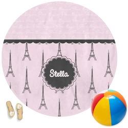 Paris & Eiffel Tower Round Beach Towel (Personalized)