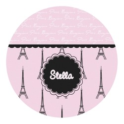 Paris & Eiffel Tower Round Decal - Custom Size (Personalized)