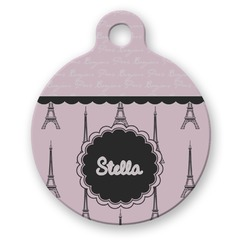 Paris & Eiffel Tower Round Pet Tag (Personalized)