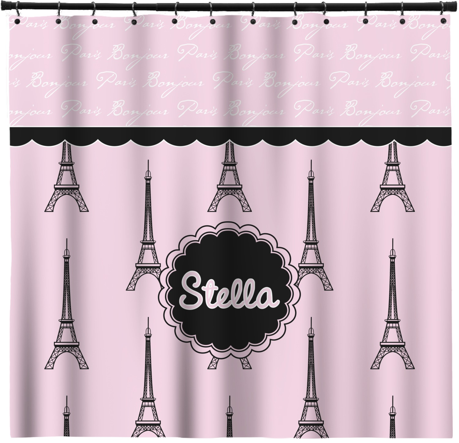 Paris Eiffel Tower Shower Curtain Personalized