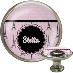 Paris & Eiffel Tower Cabinet Knob (Silver) (Personalized)