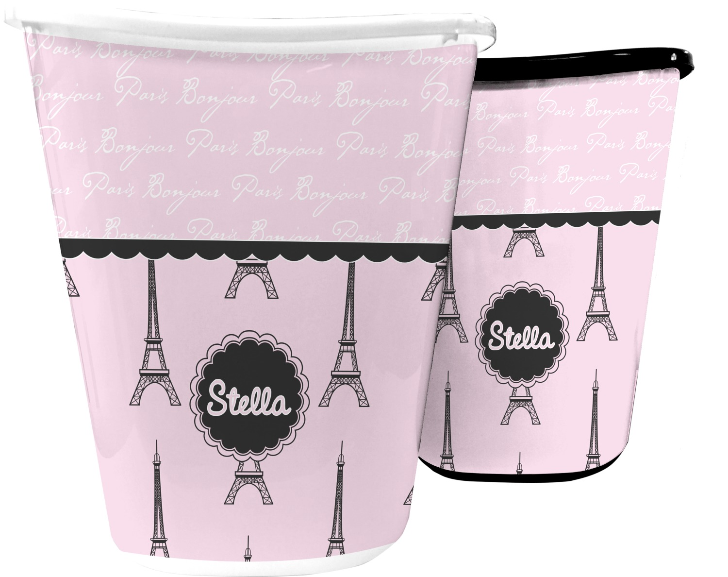 Paris eiffel tower waste basket personalized for Basket bathroom accessories