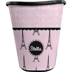 Paris & Eiffel Tower Waste Basket - Double Sided (Black) (Personalized)