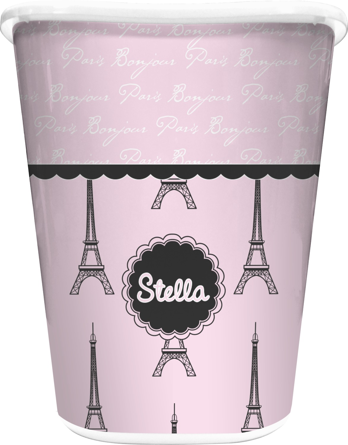Paris eiffel tower waste basket white personalized for Eiffel tower bathroom accessories