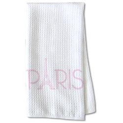 Paris & Eiffel Tower Waffle Weave Kitchen Towel - Partial Print (Personalized)