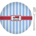 "Firetruck Glass Appetizer / Dessert Plates 8"" - Single or Set (Personalized)"